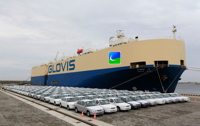 India-manufactured Hyundai cars are seen in line after unloading them off car-carrier ship at Chinese-built Hambantota port